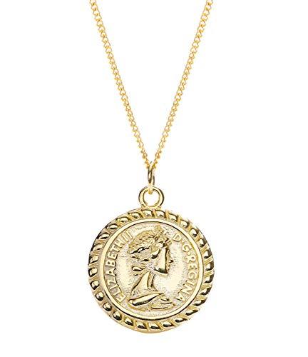 QCYISI Damen S925 Sterling Silber Anhänger Halskette, vergoldete Runde Portrait Münze, Mode Vintage Schlüsselbein Kette - Lagerung Silber-münze
