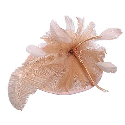 Fairlove Femme Fille Mariage Headwear plumes Net Lin Bibi Cocktail Party Pince à cheveux Chapeau, Bleu