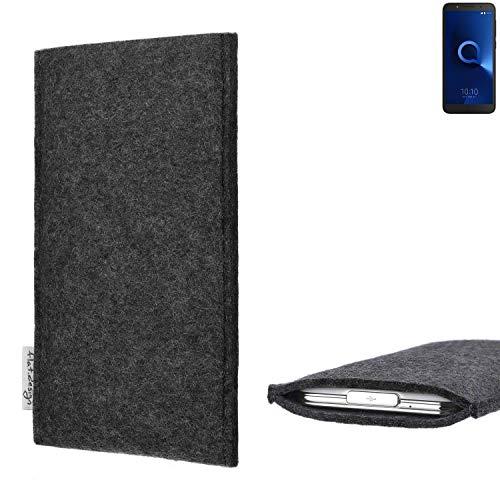 flat.design Handy Hülle Porto für Alcatel 1C Single SIM vegane Handytasche Filz Tasche Schutz Case fair dunkelgrau