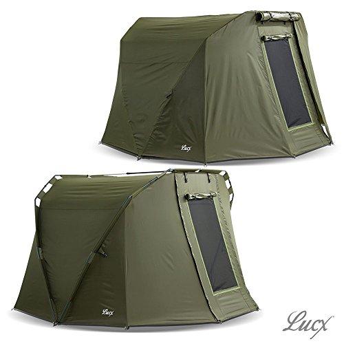 Lucx® Caracal Bivvy + Winterskin / 1-3 Mann Angelzelt + Überwurf / Karpfenzelt + Overwrap / Zelt, 10.000mm Wassersäule, Campingzelt