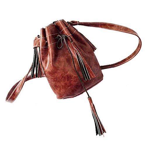 SODIAL(R) Borsa delle donne sacchetto di spalla della borsa di modo della nappa della borsa della borsa del messaggero delle donne della rappezzatura di cuoio della borsa viola Marrone