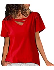Mujer Casual Cuello En V Empalme Manga Corta Color Puro Camiseta Blusa