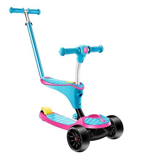 GUO@ Kids Scooter Multifunktionale 3 Bunte Flash Wheels HöHenverstellbarer AnfäNger Kick Scooter Mit Abnehmbarem Sitz Und Putter FüR Kinder Jungen MäDchen Alter 2-10 -