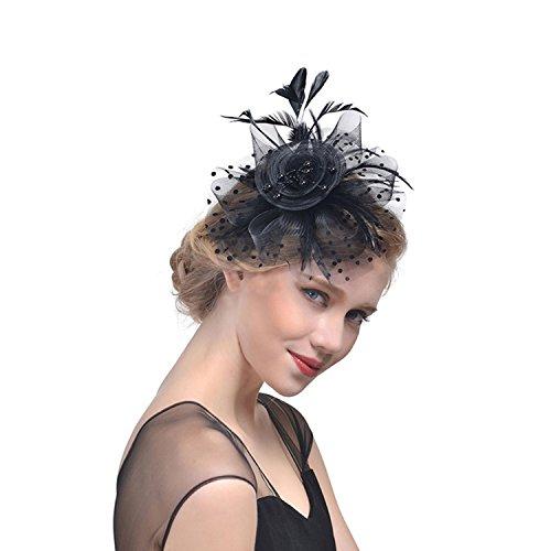 Feder Blumen Haar Clip Haarreif Haar Accessoire Netz-Mütze Schleier Cocktail Tea Party Hochzeit Kirche Haarschmuck Kopfschmuck Kopfbedeckung für Mädchen und Frauen, Schwarz, M ()
