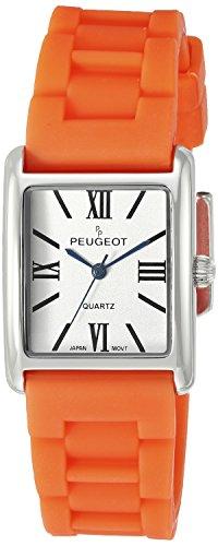 peugeot-womens-silver-tank-quartz-metal-and-rubber-dress-watch-colororange-model-3066sor