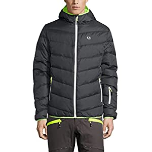Ultrasport Men's Advanced Snowboard Down Jacket Mylo, Ski Jacket, Dark Grey/Neon Yellow, L