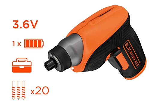 BLACK+DECKER CS3652LCAT-QW - Atornillador 3.6V, batería 1.5Ah, incluye 20 brocas y caja de almacenamiento