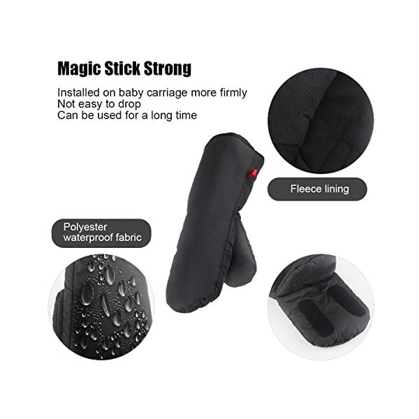 """Stroller Hand Muff, Dreamiracle Winter Warm Waterproof Gloves for Parents, Baby Pram Stroller Accessory, Anti-Freeze, Black Dreamiracle 【Warm Reminder】The Dreamiracle Stroller Hand Muff is SOLD BY """"Dreamiracle EU"""" Originally, Please choose the RIGHT Sellers and boycott the FAKE items from """"other sellers""""! We committeed to provide you the highest quality product and best customer service. If you're unhappy with our product, please feel free to contact us! 【Top Quality and Durable】Made of top-class and soft material, the hand muff is breathable and not easy to be out of shape. Thicker design make it waterproof and windproof, ensuring to keep your hands warm even in the cold winter days while outdoors without being restricted. 【Convenient to Use】Large size(7.5*12.2*1.2 in) makes it wide enough for you to put your hands with your coat into the glove, more convenient than pulling off mittens each time you need free your hands. 5"""