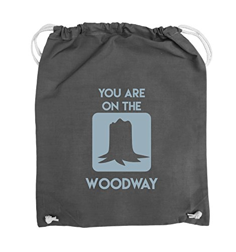 Comedy Bags - YOU ARE ON THE WOODWAY - Turnbeutel - 37x46cm - Farbe: Schwarz / Pink Dunkelgrau / Eisblau