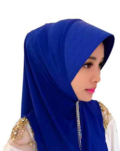 GladThink Mesdames musulman traditionnel Hijab Scarf Multicolor Bleu