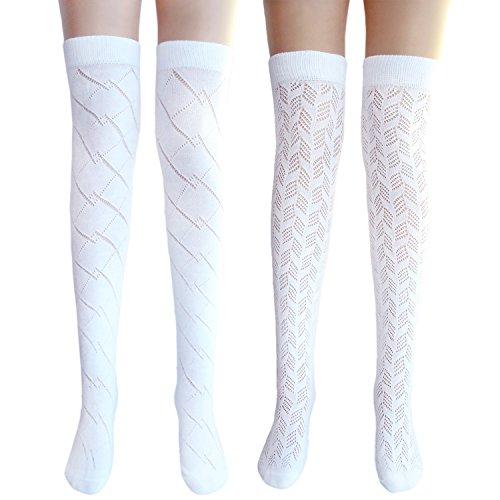 JHosiery Damen weißen Oberschenkel hohe Pointelle Baumwollstrümpfe (2 Paar Mix #3) (Jugendliche Paar Kostüme Für)