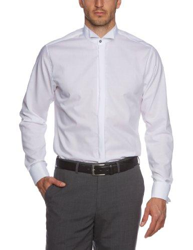 Seidensticker Herren Smoking Hemd Tailored Fit – Bügelfreies, schmal tailliertes Hemd mit Kläppchen-Kragen und Umschlagmanschette – Langarm – 100% Baumwolle, Weiß (weiss), 41 (Smoking Baumwolle)