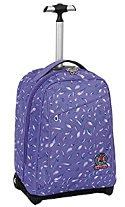 TROLLEY - INVICTA - FLORET - 2in1 Wheeled Backpack with disappearing shoulder straps - Violet 35Lt by Invicta