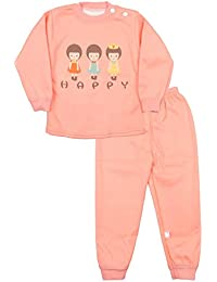 Miss U Baby Girls Kids Toddler High Quality Night Suit Regular Comfort Fit full Sleeves Winter Wear Cotton Blend Top And Pyjama Set With Inner Fur