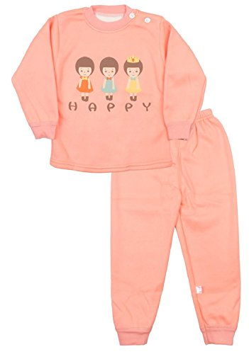 Miss U Baby Girls Kids Toddler High Quality Night Suit Regular Comfort Fit full Sleeves Winter Wear Cotton Blend Top And Pyjama Set With Inner Fur (PEACH, 55 (1-2 Years))