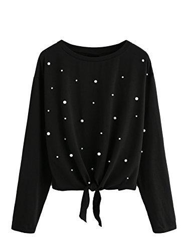 DIDK Damen Pulli Langarmshirts Rundhals T-Shirt Oberteile Pullover mit Perlen und Knoten Schwarz S