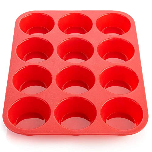 Ecoki Muffinblech aus Silikon für 12 Muffins - LFGB Zertifiziert BPA-frei Silikon Muffinform für Cupcakes, Brownies, Kuchen, Pudding - Antihaft & Leicht zu Reinigen 丨2 Jahren GARANTIE Silikon Cupcake