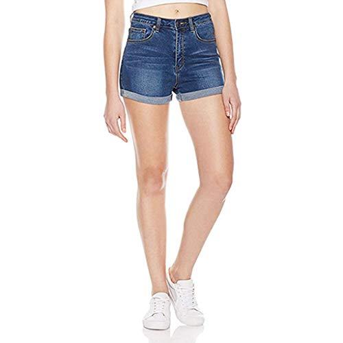 Hoch taillierte Gewaschene Kurze Mini-Jeans Denim Shorts HosenBadeshorts Chinoshorts Cargoshorts Jeansshorts Sweatshorts Hosen(M, Blau) ()