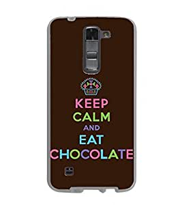 Fuson Designer Back Case Cover for LG K7 :: LG K7 Dual SIM :: LG K7 X210 X210DS MS330 :: LG Tribute 5 LS675 (Keep CAlm Be Cool Be quiet Eat Chocolate Choco Love)
