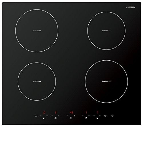 Viesta IKF4Z hochwertiges 4-Zonen Induktionskochfeld 7000W mit 9 Kochstufen Überhitzungsschutz Timer und Sensor-Touch-Display - Kochfeld autark + Reinigungsschaber GRATIS -