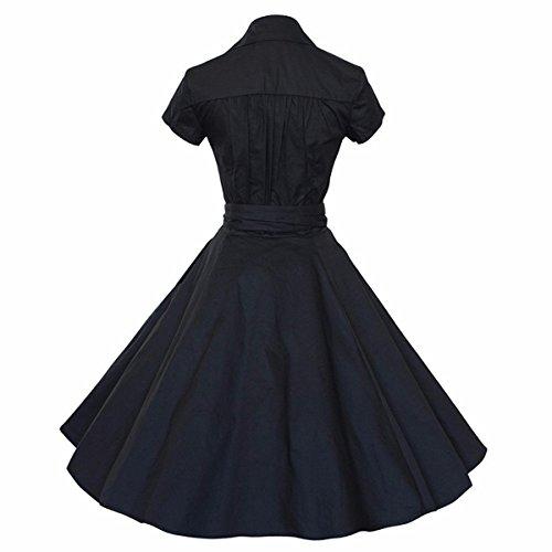 Shanxing Damen Rockabilly Kleid 1950er Retro Polka Dots Faltenrock Petticoat Party Cocktailkleid 04-Schwarz
