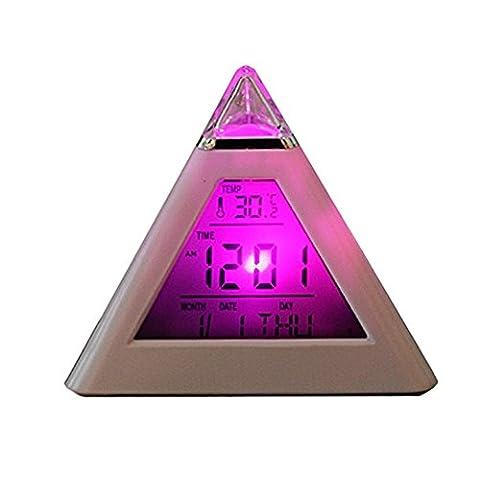 Eastlion 7 Farbwechsel Dreieck Pyramide Digital Wecker