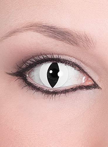 Raubtier weiße Kontaktlinsen / Monatslinsen - Motivlinsen ohne Sehstärke - Unisex - Erwachsene - ideal für Halloween, Karneval, Motto- und Horror-Party