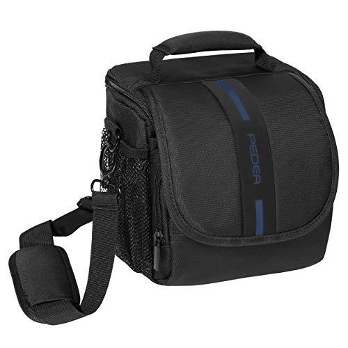 """PEDEA DSLR-Kameratasche \""""Essex\"""" Fototasche für Spiegelreflexkameras mit wasserdichtem Regenschutz, Tragegurt und Zubehörfächern, Gr. M schwarz/blau"""