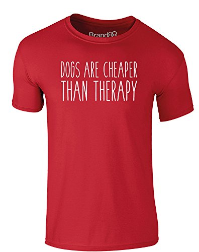 Brand88 - Dogs Are Cheaper Than Therapy, Erwachsene Gedrucktes T-Shirt Rote/Weiß