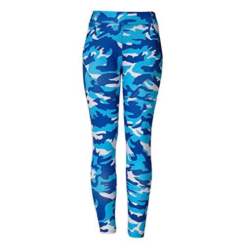 Pantalon de Yoga femmes,Jimma Femmes Camouflage Yoga Leggings,Gym Sports Yoga Running Pantalons de fitness Pantalon athlétique Taille haute Bleu