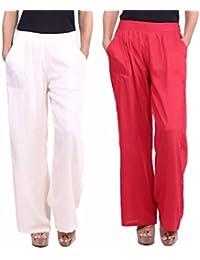 Fabric Cotton Women's Cotton Straight Palazzo/Plazo/Palzzo (Packof2)