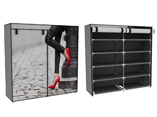 Trendy-Home24 Stoffschrank Schuhschrank Schuhregal mit roten Pumps schwarz weiß 10 Fächer
