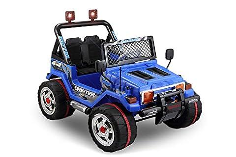 JEEP 2 SITZER Kinder Elektro Akku Offroad Fernsteuerung elektrisch ATV Geländewagen Cross Dirt Pit Bike 2x 30W 12V (blau)