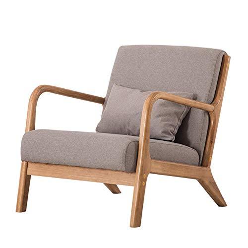 NNDQ Moderner Mid-Century Sessel aus Holz, mit Stoff bezogen, handpoliert, elegant und natürlich, für Schlafzimmer, Wohnzimmer, Balkon -