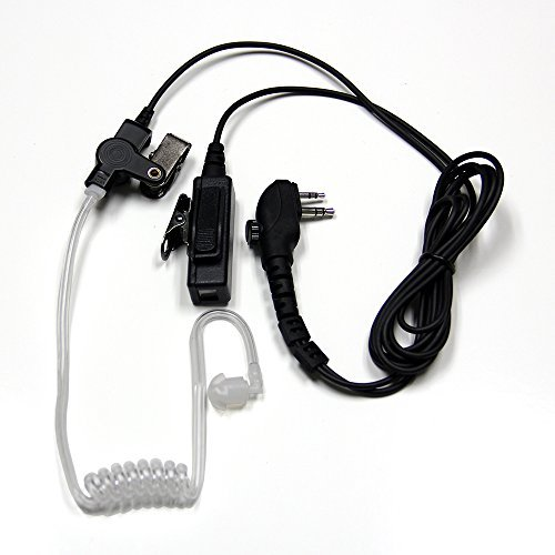 MaximalPower Clear Coil Tube Earbud Headset PTT Mic w/Kevlar HYTERA 2-Pin Plug with Screw