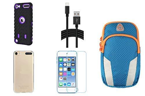 Aiboco 5-Zubehör-Set für iPod Touch 6/5 6. / 5. Generation, vollständiger Schutz, weiche Hülle, Sportarmband, Displayschutz aus gehärtetem Glas, Hochwertiges Ladekabel, schwarz/lila (Ipod Armband Lila)