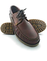 Zapato para caballeros naútico de piel con suela de goma flexible 100 % Piel de primera calidad Forro interior en piel Tallas grandes XXL de la 47 a 50