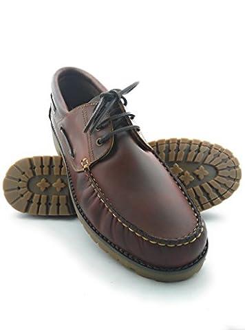 Zerimar Chaussure en cuir nautique avec semelle en caoutchouc flexible 100% cuir premium Marquage design de mode Grandes tailles XXL de 47 à