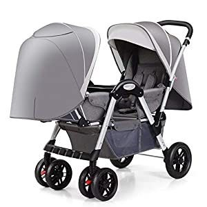MYRCLMY Baby Strollers Twin Baby Strollers for Boys And Girls with Adjustable Backrest Double Face To Face with Shock Absorber Comfortable Folding Trolley,Gray   3