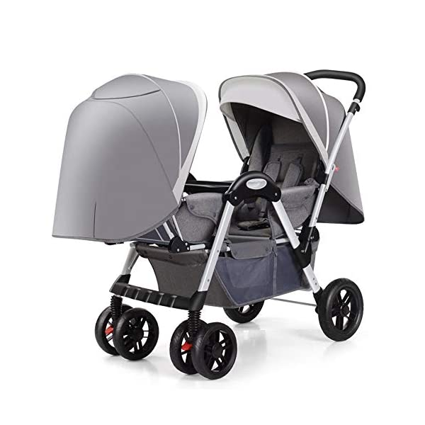 MYRCLMY Baby Strollers Twin Baby Strollers for Boys And Girls with Adjustable Backrest Double Face To Face with Shock Absorber Comfortable Folding Trolley,Gray MYRCLMY *TWIN STROLLER: Getting everywhere with two little ones has never been easier, thanks to the Double Strollers; you can glide around town even when you only have one hand free to steer; you can even roll through a standard size doorway. *ADJUSTABLE BACKREST & CONNECTABLE SEATS :The backrest can adjust to fit baby's sleep posture to keep comfortable sleeping. Two seats can be connected to lengthen the seat. *SAFETY WHEELS & 5-POINT SAFETY BELTS:The springs in front wheels absorb shocks for easy to control direction and safety. The 5-point safety belt is equipped with each seat to ensure security while keeping your baby fit to the safety belt to feel comfortable. 1