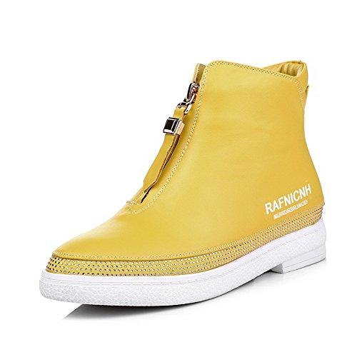 AllhqFashion Damen Reißverschluss Niedriger Absatz Pu Gemischte Farbe Stiefel Gelb