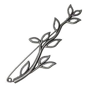Bacabella Damen Blatt Brosche aus Metalllegierung 3cm x 8,8cm schwarz anthrazit | Zweig Rohling Zum Zusammenhalten von Kleidung Oder aus Dekozwecken
