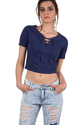 PILOT® Front Ernte T-Shirt mit schnüren sich oben Marineblau