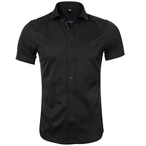 Harrms maglietta in fibra di bambù da uomo, manica corta, slim fit, t-shirt formale per uomo, nero, 44