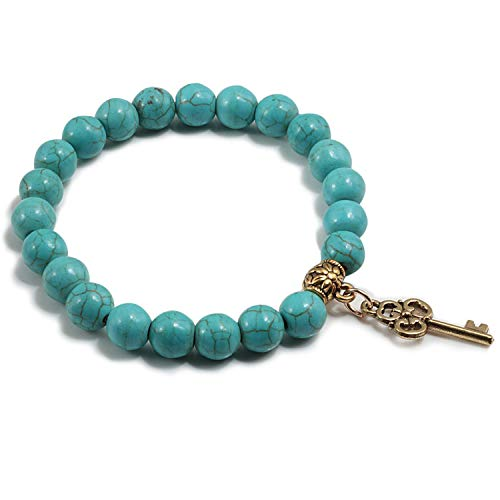 Armband Armreif,Schmuck Geschenk, 12 Style Blue Turquoises Natural Stone Men Bracelet Gold Colour Key Angel Aircraft Accessories Bracelets Bangles for Women Gift 8blue Key