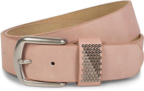 styleBREAKER Gürtel mit zweifarbigen Nieten an der Schlaufe, Nietengürtel, kürzbar, Unisex 03010088, Größe:95cm, Farbe:Altrose