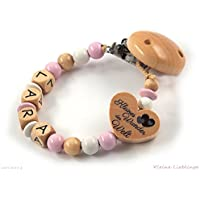 Schnullerkette mit Namen Mädchen - rosa - natur - weiß - Herz - Kleines Wunder der Welt - Holz - geprägte Holzbuchstaben - Silikonring Baby - Taufgeschenk - Mädchen