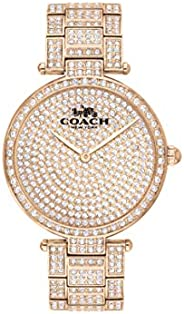 Coach Women's Carnation Gold Dial Ionic Plated Carnation Gold Steel With Crystal Watch - 1450