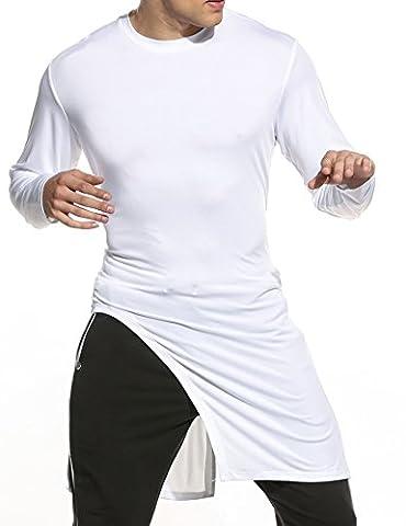 Coofandy Casual Homme Tee shirt Manche Longue Col Rond Hem Long Blanc XL
