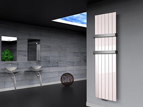 Badheizkörper Design Peking 3, HxB: 180 x 47 cm, 1118 Watt weiß + 2 Handtuchhalter (50mm) (Marke: Szagato) Made in Germany/Top-verarbeiteter Bad und Wohnraum-Heizkörper (Mittelanschluss)